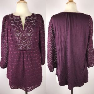 One September Burgundy Embroidered 3/4 Sleeve Top